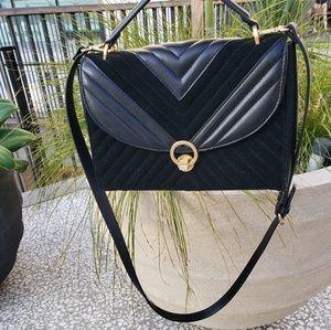 Zara black suede crossbody bag, gold hardware